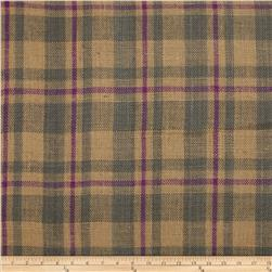 60'' Sultana Burlap Plaid Grey/Plum Fabric