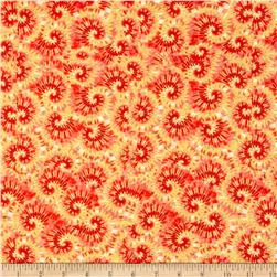 Tie Dye Swirl Yellow/Red Fabric