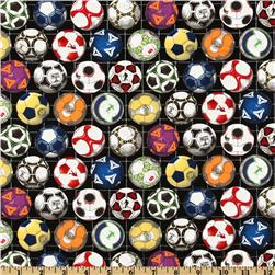 Sports Collection Soccer Balls Black Fabric