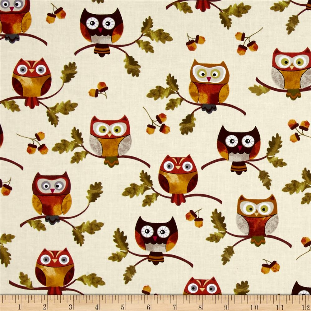 Leaf Into Autumn Owls Cream Discount Designer Fabric