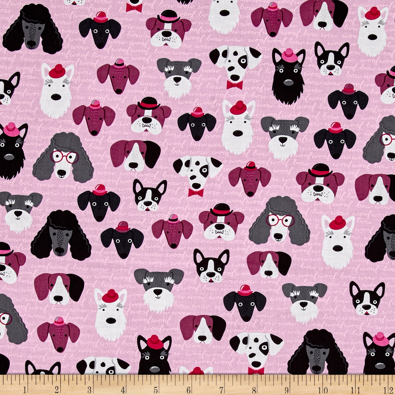 Kaufman Classy Canines Dog Faces Pink Fabric