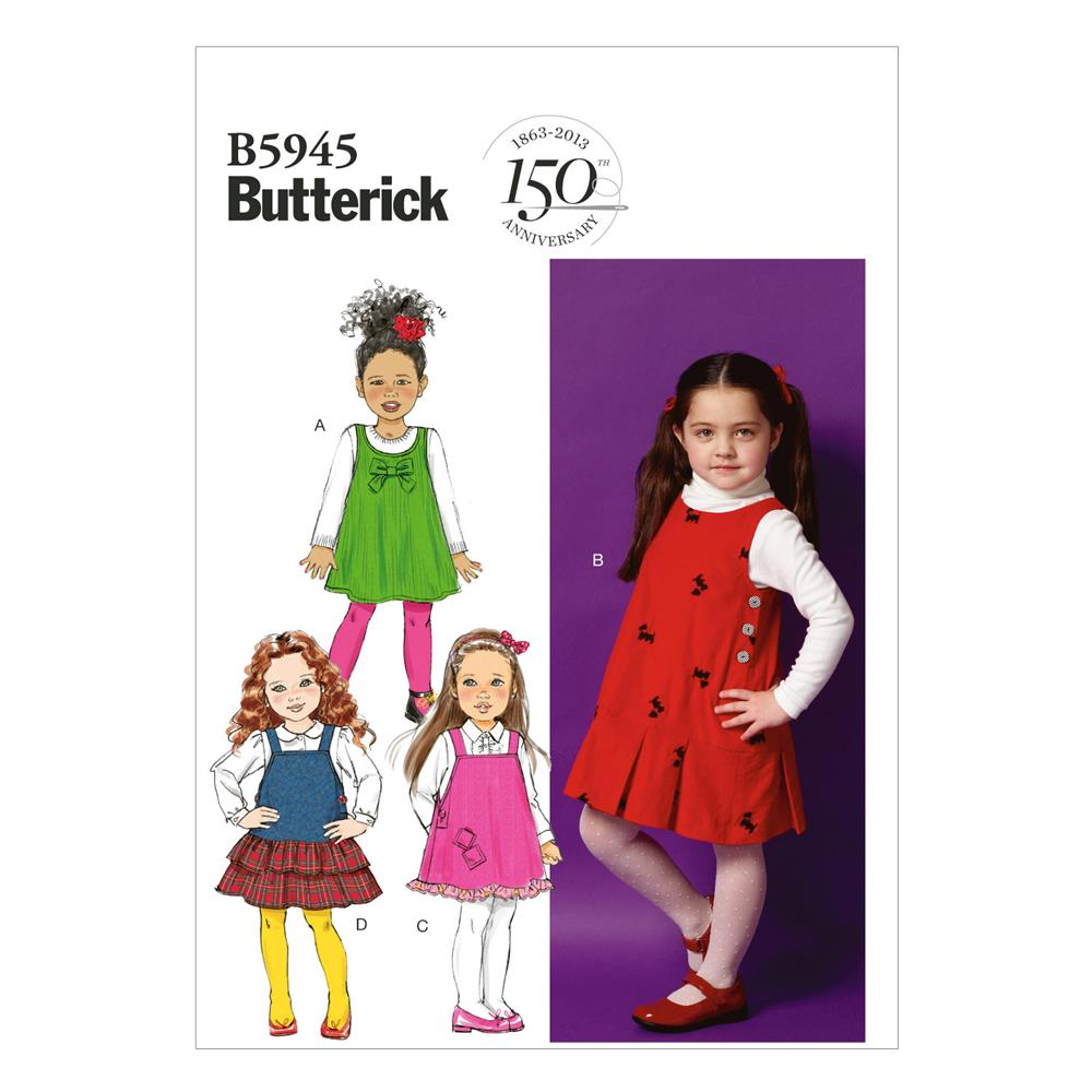 Butterick Children's/Girls' Jumper Pattern B5945 Size CDD