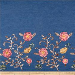 Telio Denim Floral Embroidery Single Border Blue/Pink/Brown