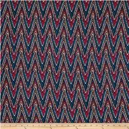 Rayon Crepe Print Chevron Teal/Hot Pink/Orange