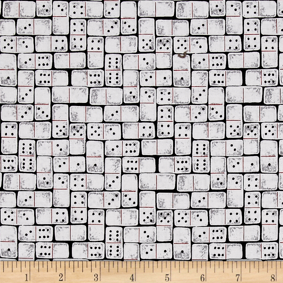 Game Night Dominoes White Fabric by Stardom Specialty in USA