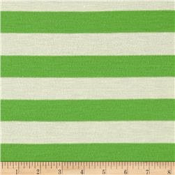 Cotton Blend Jersey Knit Bright Green White
