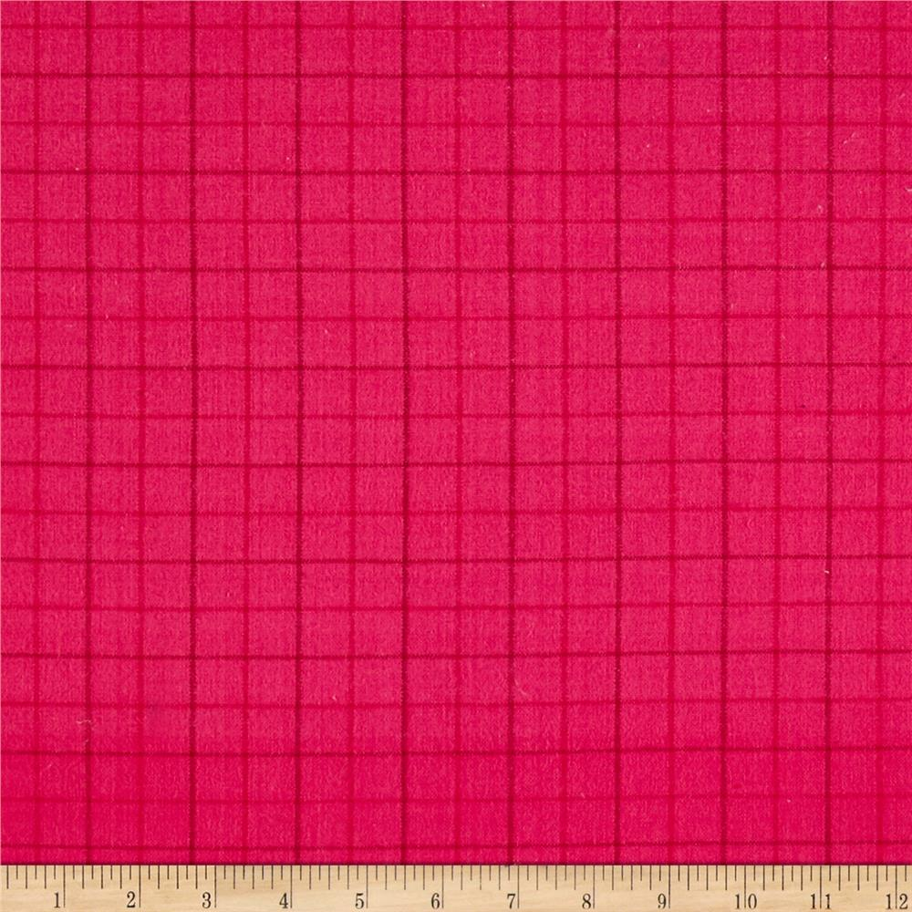 Local Color Yarn Dyed Flannels Tattersall Hot Pink Fabric
