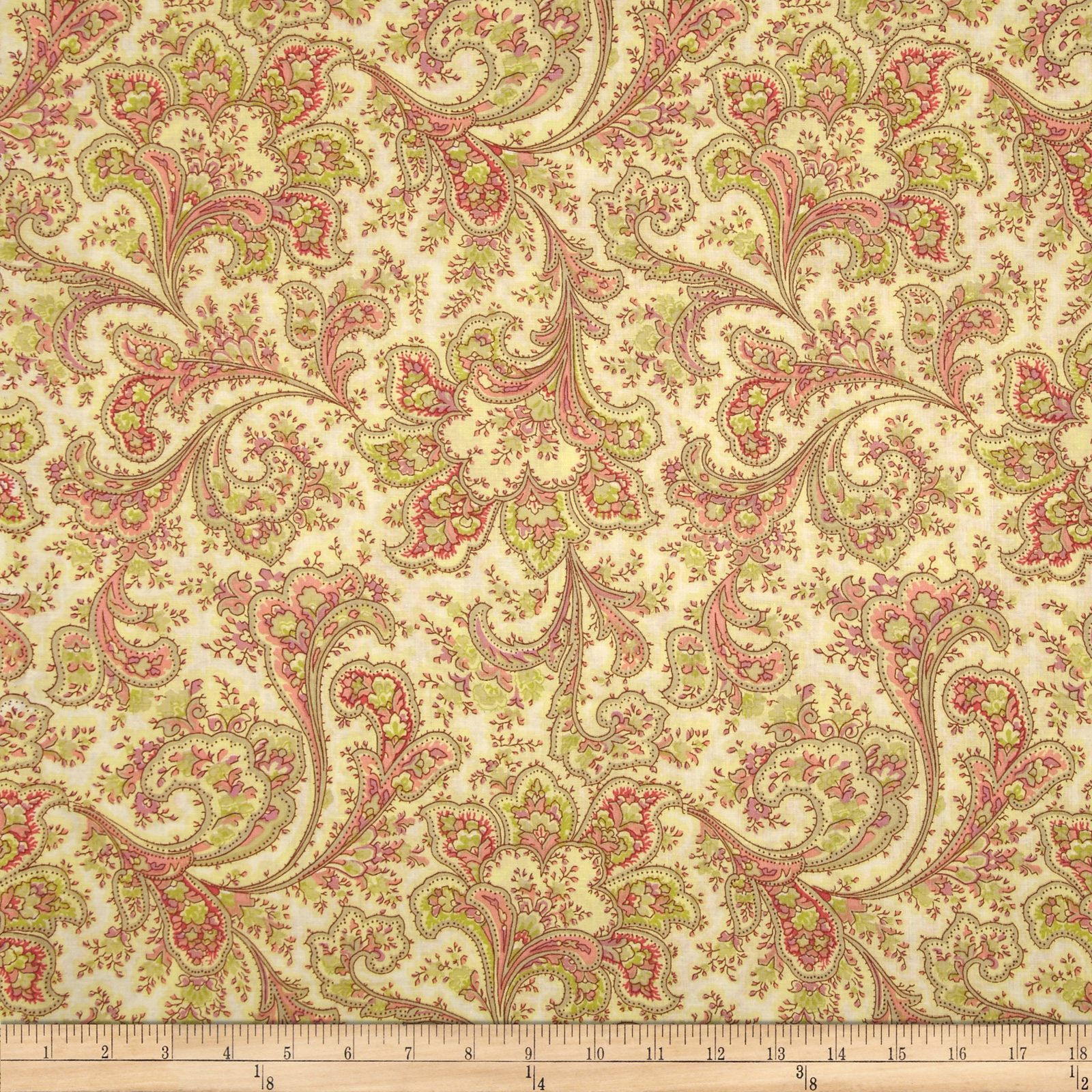 Image of 108'' Wide Quilt Back Rosemont Malabar Ivory Fabric