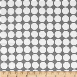 Cozy Cotton Flannel Large Dots Grey Fabric