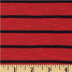 Designer Yarn Dyed Stripe Slub Baby Rib Knit Black/Red