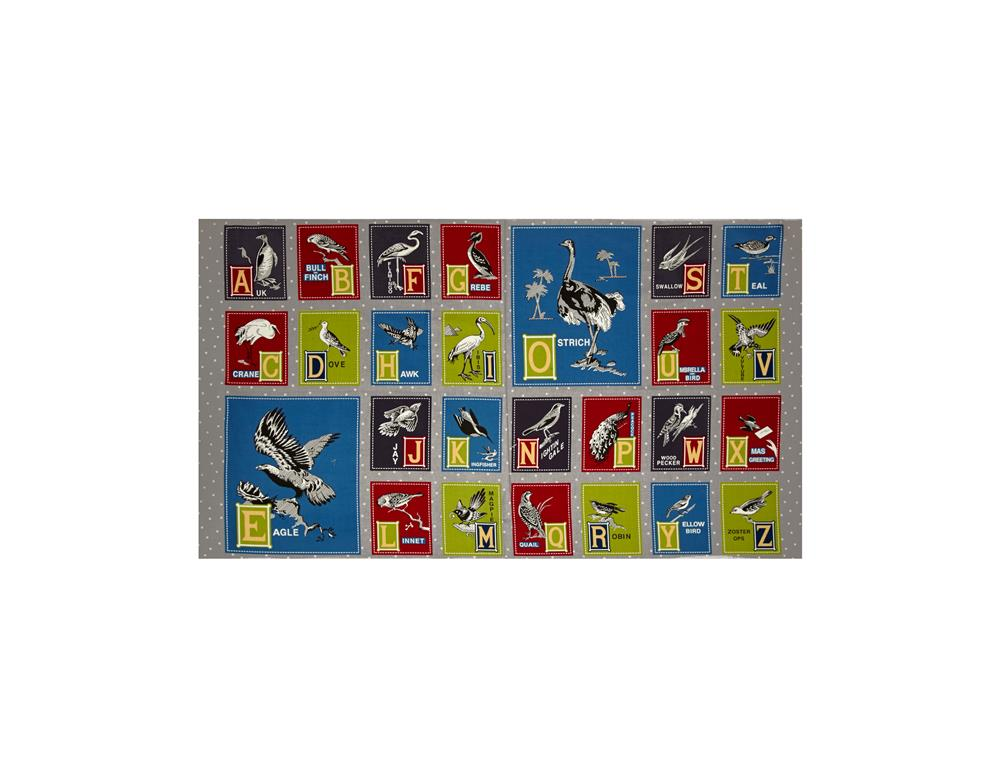 Birds of a Feather Alphabet 24'' Panel Grey Fabric By The Yard