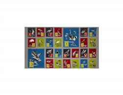 "Birds of a Feather Alphabet 24"" Panel Grey"