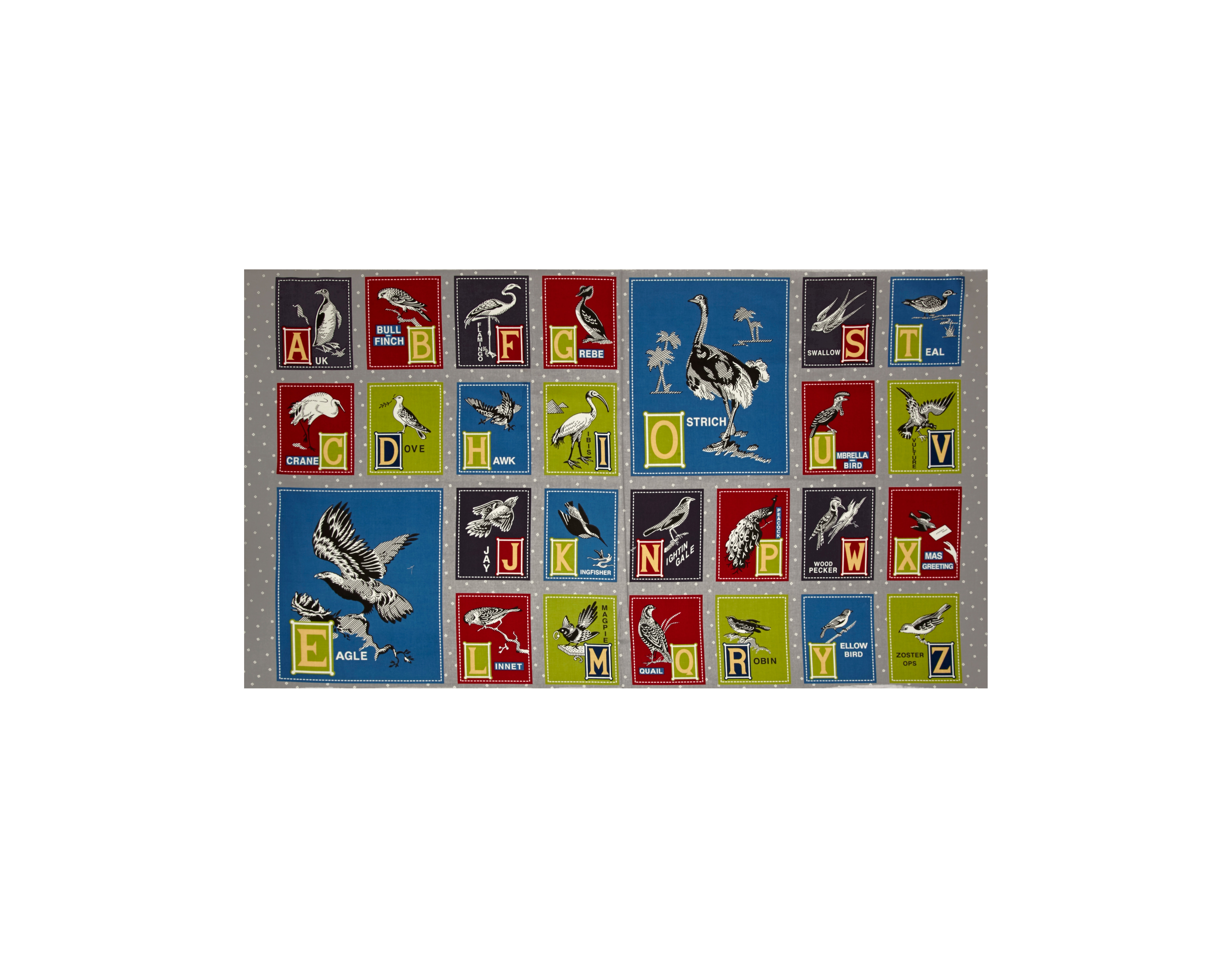 Image of Birds of a Feather Alphabet 24'' Panel Grey Fabric