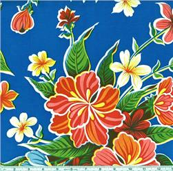 Oil Cloth Hibiscus Blue Fabric