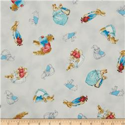 Cotton Tale Flannel Tossed Bunnies Grey