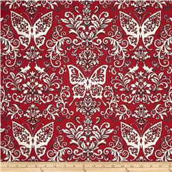 Black White & Currant 6 Butterfly Damask Red