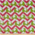 RCA Elephant Chevron Blackout Drapery Fabric Green/Hot Pink