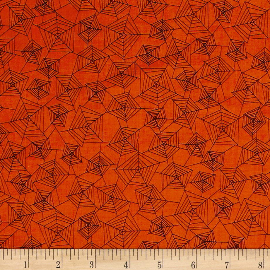 Image of Eat Drink & Be Scary Spider Webs Orange Fabric