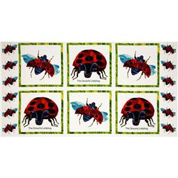 The Grouchy Ladybug Panel White/Red Fabric