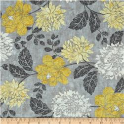 Timeless Treasures Ophelia Floral Grey