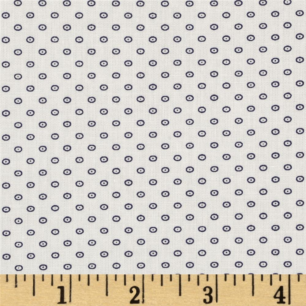 Morocco Blues Stretch Poplin Dots Black/White