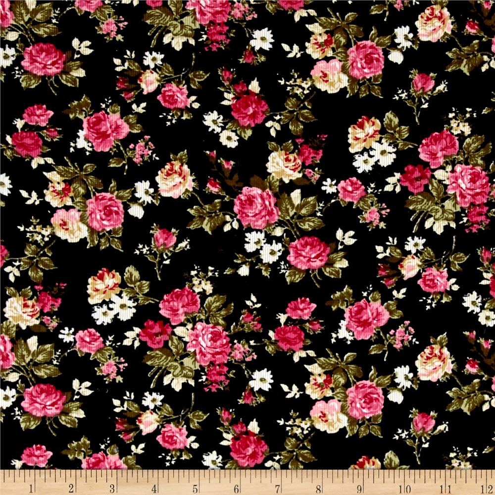 Corduroy Pink/Whiter Roses on Black