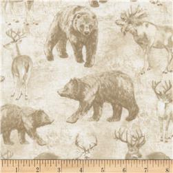 Timeless Treasures Cabin Rules Wildlife Toile Cream