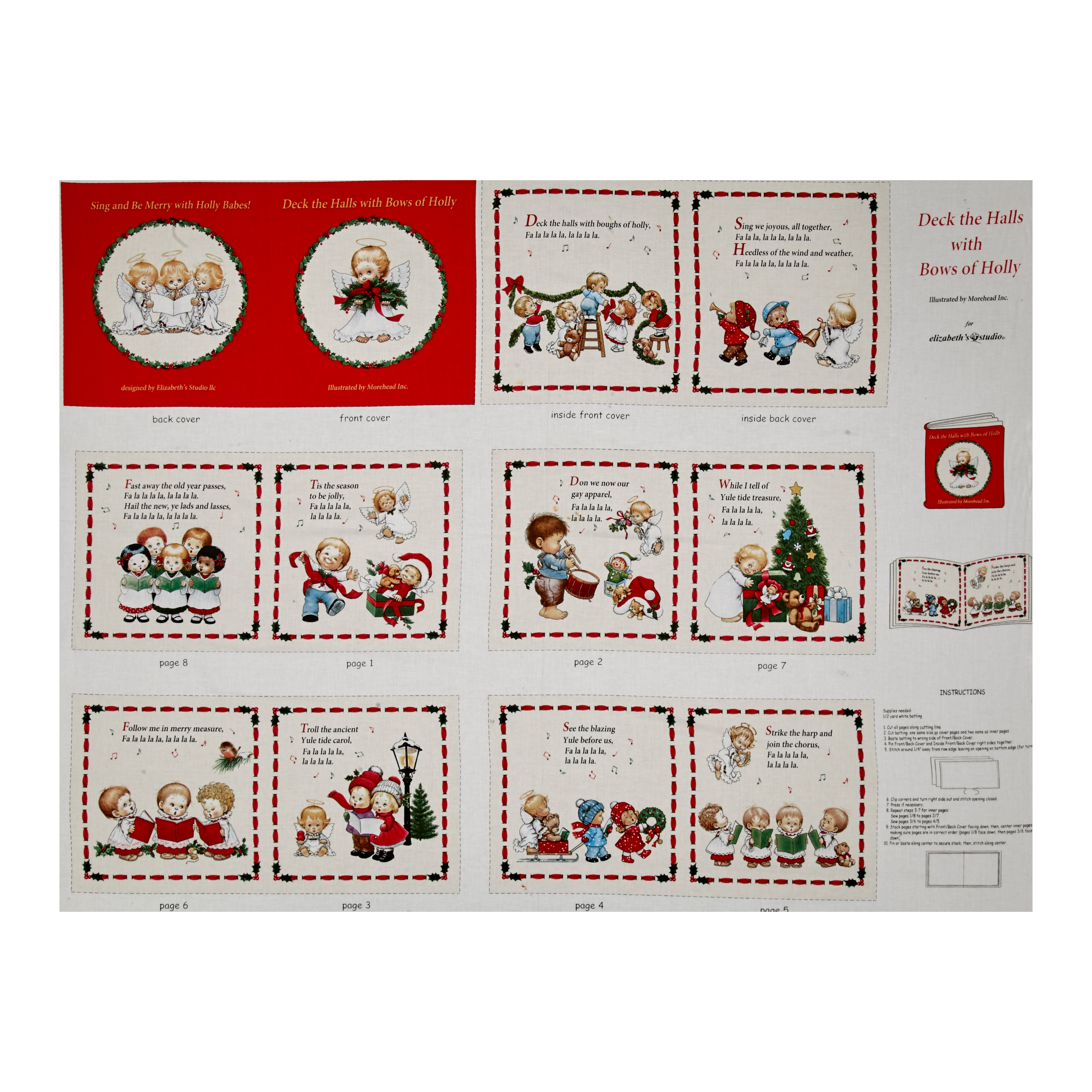 Deck the Halls Soft Book Panel Cream Fabric