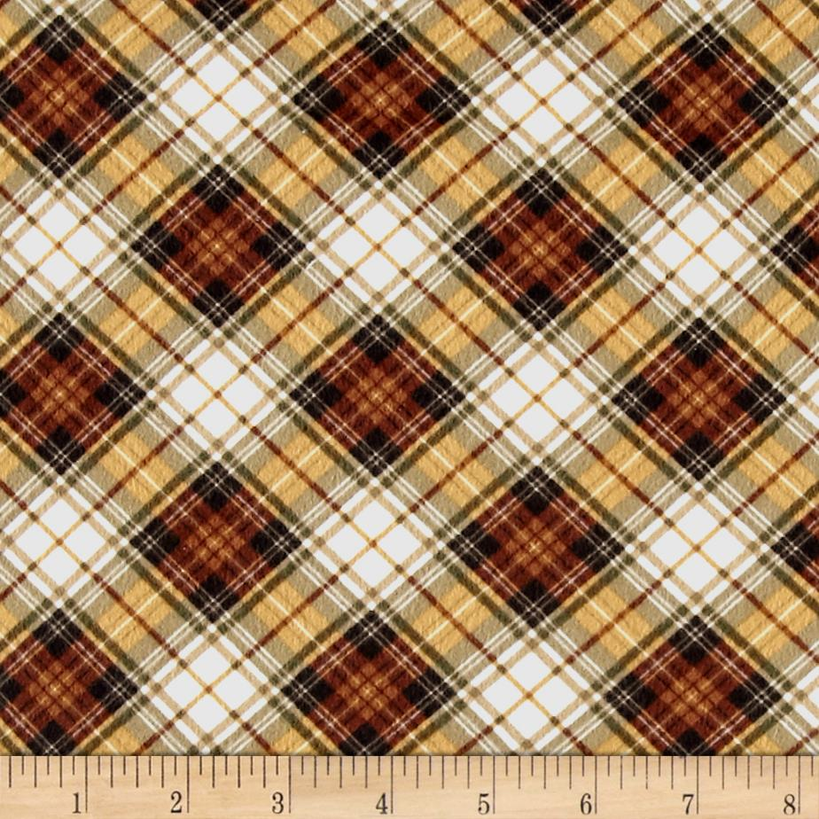 Timeless Treasures Oxford Flannel Bias Tartan Plaid Brown Fabric