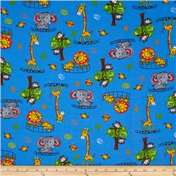Flannel Tossed Zoo Animals Blue