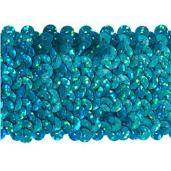 "1 3/4"" Hologram Stretch Sequin Trim Aqua Blue"