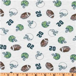 Cotton Jersey Knit Footballs Green/White