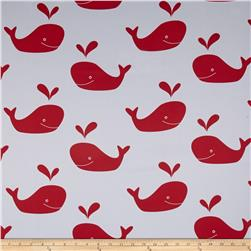 RCA Blackout Drapery Fabric Whales Red