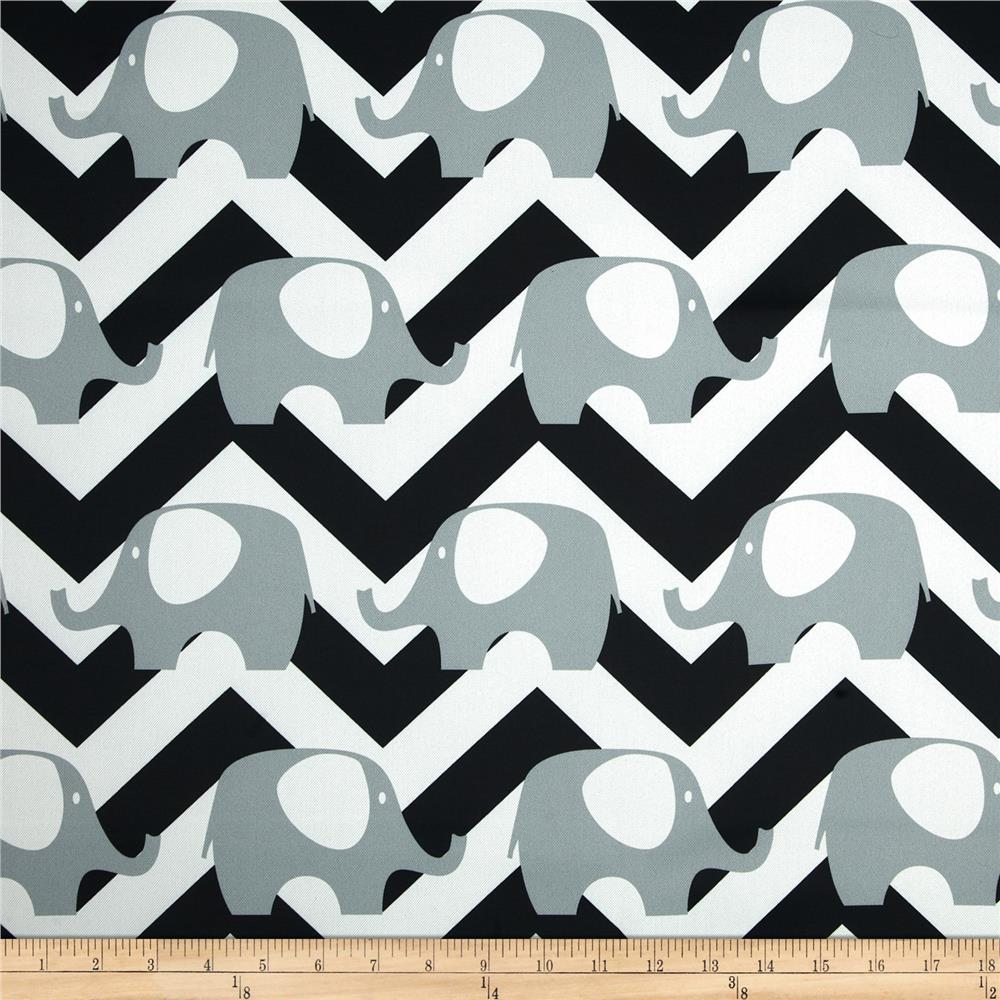 RCA Elephant Chevron Blackout Drapery Fabric Black/White