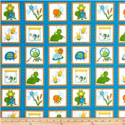 Bugs Flannel Bugs In Squares Blue