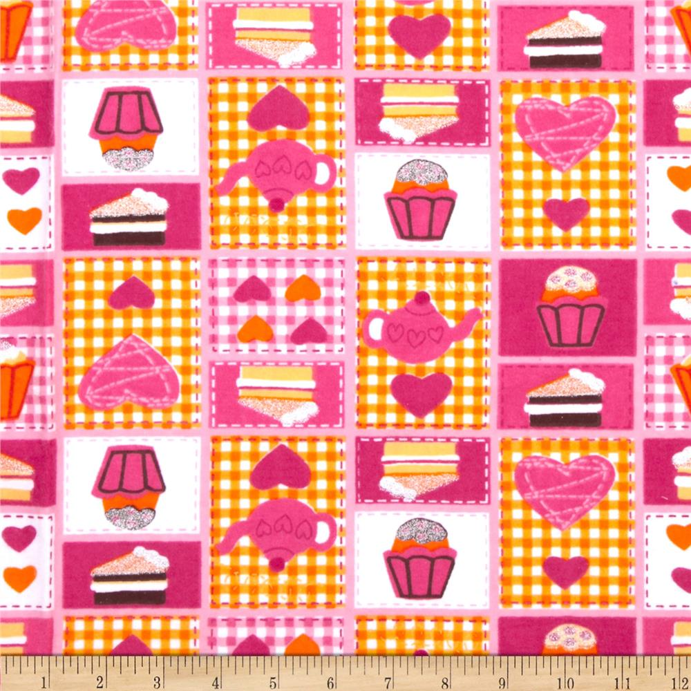 Camelot Flannel Glitter Sweets Pink