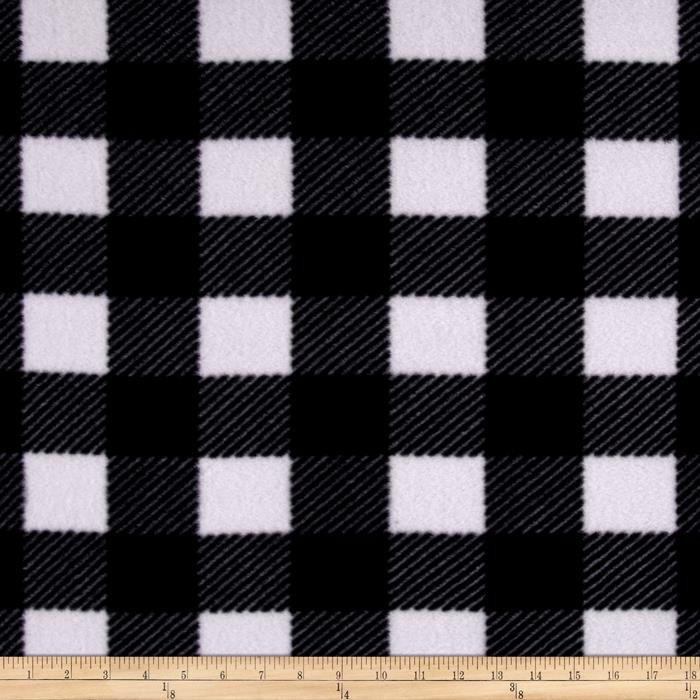 Buffalo Plaid Fleece Black/Gray/White Fabric By The Yard
