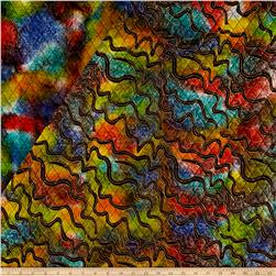Double Face Quilted Indian Batik Zig  Zag Metallic/Multi