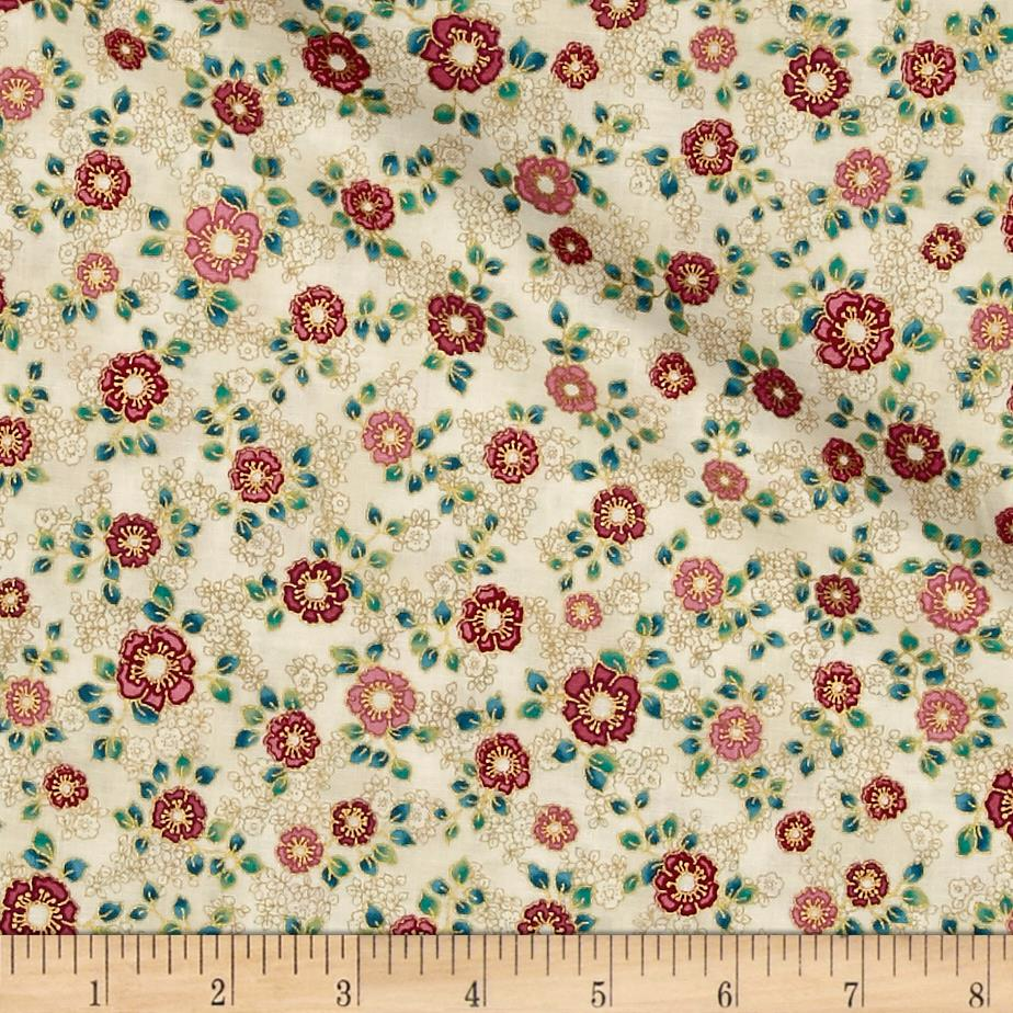 Kaufman La Scala 7 Metallic Small Flower Garnet