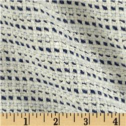 Designer Stretch Basketweave Stripes Navy/Cream