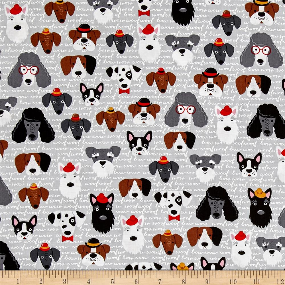 Kaufman Classy Canines Dog Faces Vintage