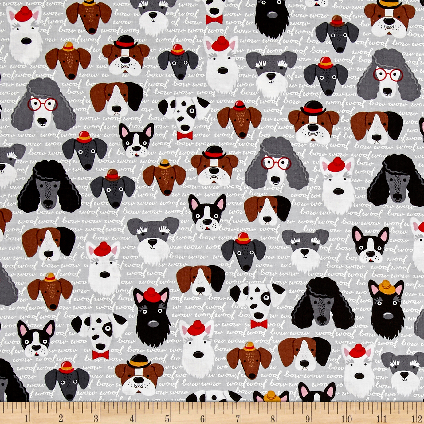 Kaufman Classy Canines Dog Faces Vintage Fabric