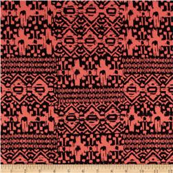Cotton Spandex Jersey Jersey Knit Tribal Peach/Black
