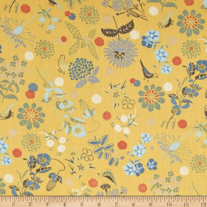 Isso Ecco & Heart Cotton Lawn Botanical Yellow