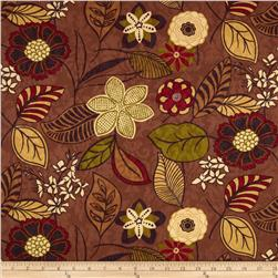 Georgette Home Decor Damask Jacquard Floral Brown