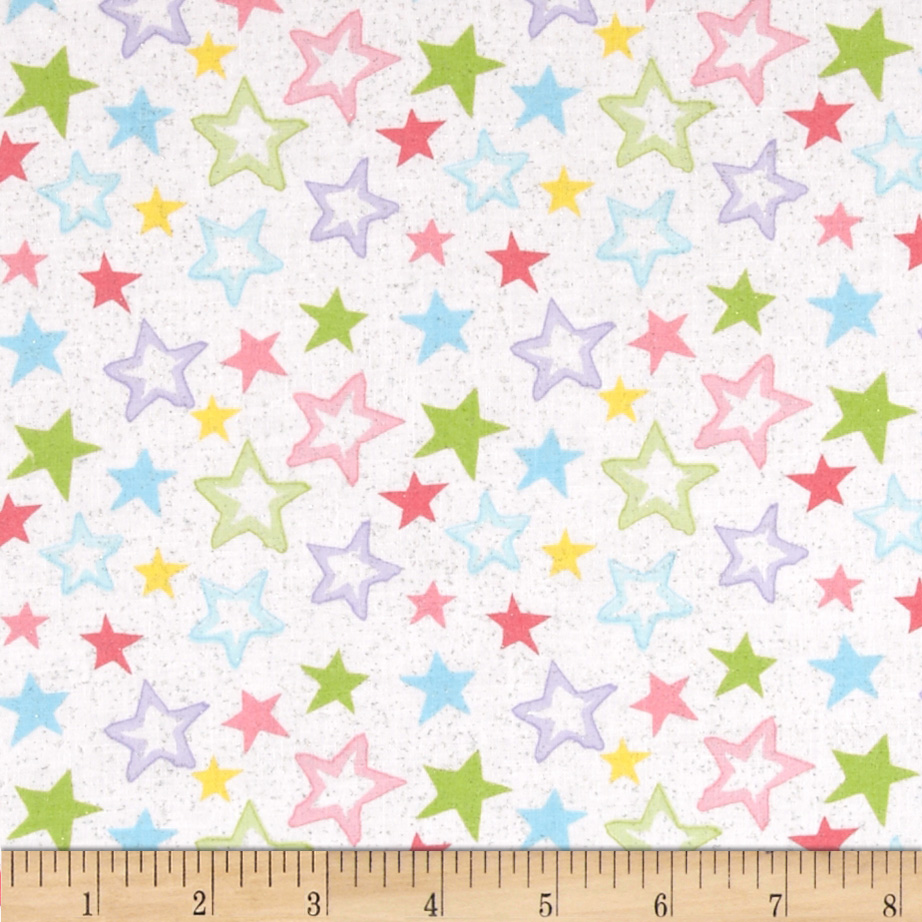 Starry Night Glitter Stars Pastels/White Fabric By The Yard by Santee in USA