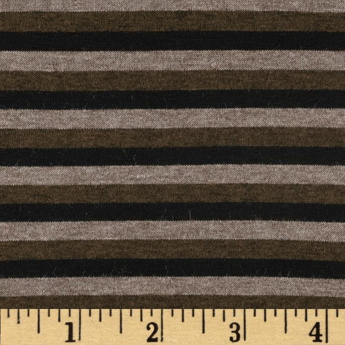 Designer Stretch Rayon Jersey Knit Stripes Black/Brown