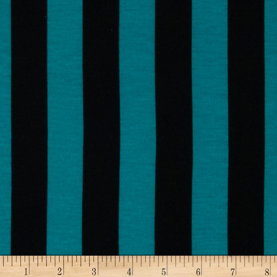 Soft Jersey Knit Mid Stripe Jade/Black Fabric By The Yard
