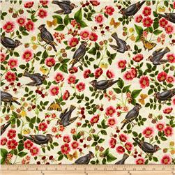 Midnight Sun Metallic Birds & Flowers Ivory