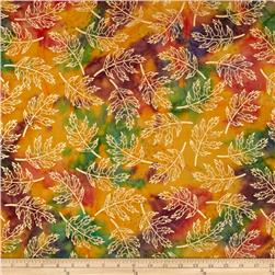 Indian Batik Harvest Large Leaf Metallic Orange/Green